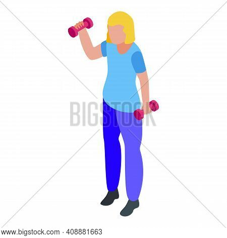 Physical Therapist Dumbbells Icon. Isometric Of Physical Therapist Dumbbells Vector Icon For Web Des