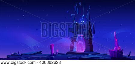 Magic Portal In Stone Frame On Mountain At Night. Vector Cartoon Fantasy Illustration, Game Landscap