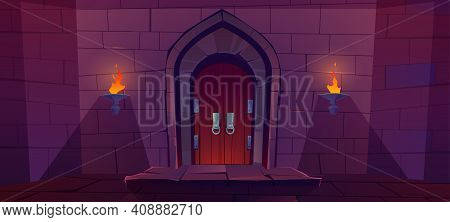 Wood Door In Medieval Castle. Old Gate In Stone Wall With Flaming Torches At Night. Vector Cartoon I