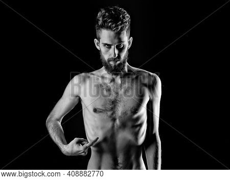 Man Dieting With Serious Face And Bare Slim Or Thin Body. Chest And Torso With Anorexia Isolated On