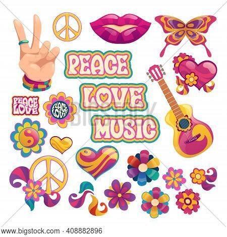 Hippie Icons, Signs Of Peace, Love And Music. Vector Cartoon Set Symbols Of Hippy Culture With Heart