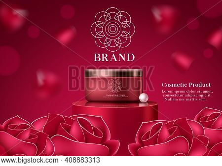 Cosmetic Rose Moisturizing Product Vector Template Design. Cosmetic Product Moisturizing Cream With