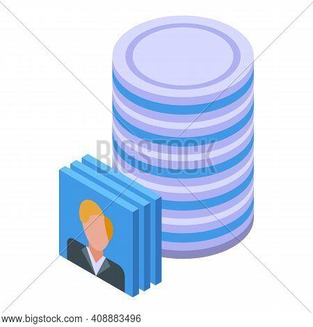 Customer Database Server Icon. Isometric Of Customer Database Server Vector Icon For Web Design Isol