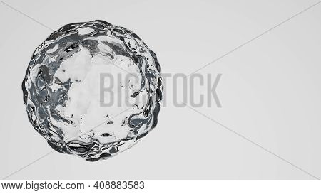 Water Blob Isolated On White Background - Closeup. 3d Cgi