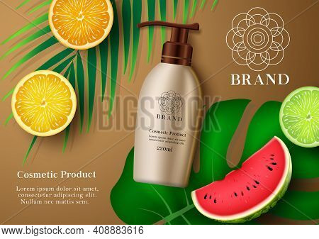 Cosmetic Sunscreen Product Vector Banner Template. Cosmetic Mock Up Lotion Product With Tropical Fru