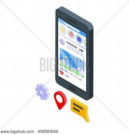 Customer Database Smartphone Icon. Isometric Of Customer Database Smartphone Vector Icon For Web Des