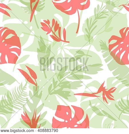 Seamless Pattern With Delicate Tropical Flowers And Leaves. Trendy Seamless Textures For Fabrics, Sw