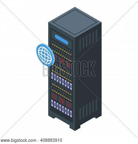 Customer Database Server Stand Icon. Isometric Of Customer Database Server Stand Vector Icon For Web