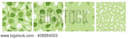 Vector Set Of Seamless Patterns Of Tropical Leaves, Plants, Flowers On Green. Beautiful Print With E