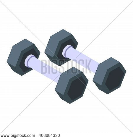 Dumbbells Icon. Isometric Of Dumbbells Vector Icon For Web Design Isolated On White Background
