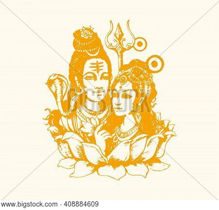 Sketch Of Indian Famous And Powerful God Lord Shiva And His Symbols Outline, Silhouette Editable Ill
