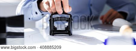 Public Notary Contract Document Stamp And Permit Approve