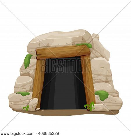 Old Cave From Stones, Rocks With Moss And Grass In Cartoon Style Isolated On White Background. Entra
