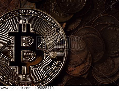Bitcoin On The Background Of Kopeks. Physical Bitcoin