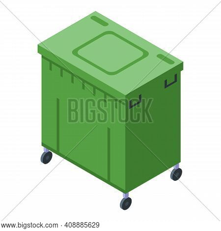 Green Dumpster Icon. Isometric Of Green Dumpster Vector Icon For Web Design Isolated On White Backgr