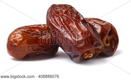 Pile Of Tasty Dry Dates Isolated On White Background. Arabic Food