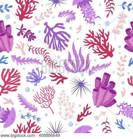 Seamless Pattern With Marine Fauna - Corals, Jellyfish, Sea Anemones, Seaweed, Sea Urchin, Bubbles.