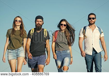 Group Of Friends On Summer Vacation. Happy Friends On Blue Sky, Wanderlust. Friendship, Friends, You