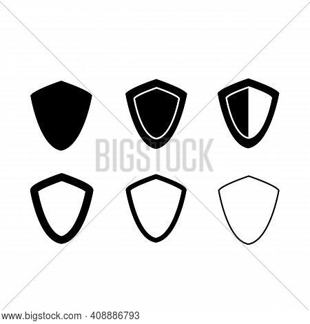 Set Shield Icon On White Background. Shield Or Protection Concept. Flat Style. Shield Symbol.