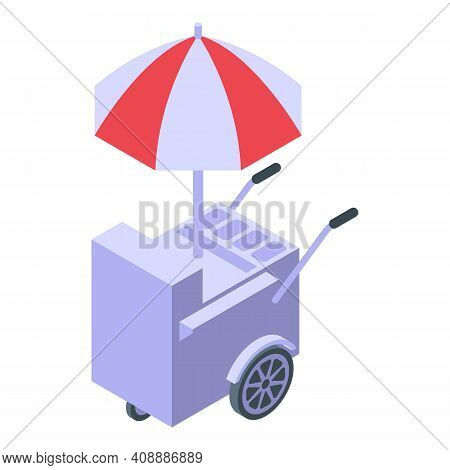 Cart With Hamburgers Icon. Isometric Of Cart With Hamburgers Vector Icon For Web Design Isolated On