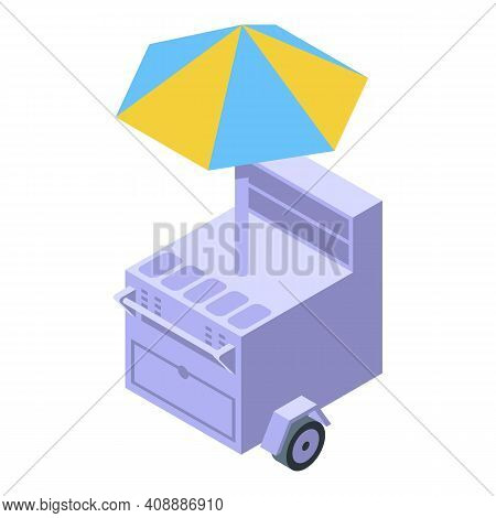 Cart With Buns Icon. Isometric Of Cart With Buns Vector Icon For Web Design Isolated On White Backgr