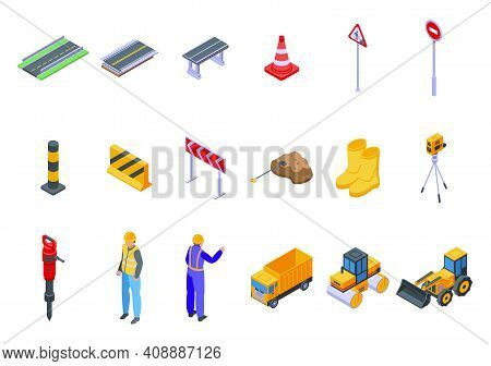 Highway Construction Icons Set. Isometric Set Of Highway Construction Vector Icons For Web Design Is