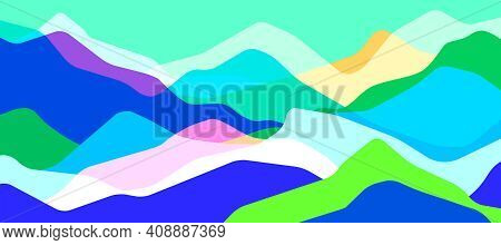 Multicolor Mountains, Translucent Waves, Abstract Color Glass Shapes, Modern Background, Vector Desi