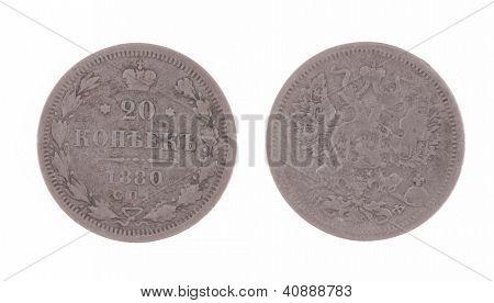 antikes Silber 1880 Russland 20 Kopeken antiken Münze isoliert auf weiss