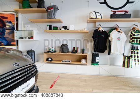 Bordeaux , Aquitaine France - 02 16 2021 : Mini Cooper Car Showroom Of Dealership With Accessories C