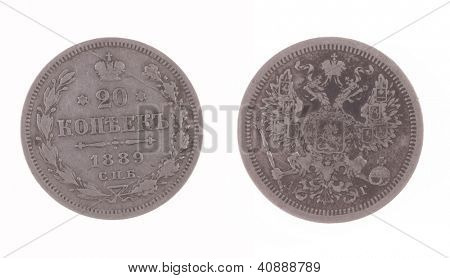 antique silver 1889 Russian 20 Kopek antique coin isolated on white poster