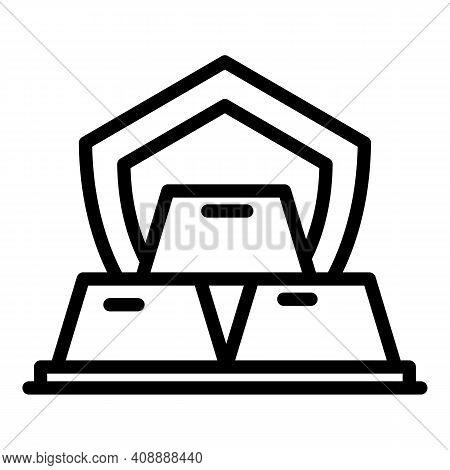 Gold Ingot Icon. Outline Gold Ingot Vector Icon For Web Design Isolated On White Background