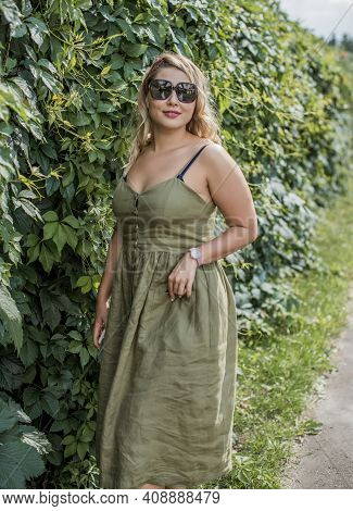 Young Stylish Woman, Everyday Trend, Casual Fashion, Romantic Look. Plus Size Model. Happy Overweigh