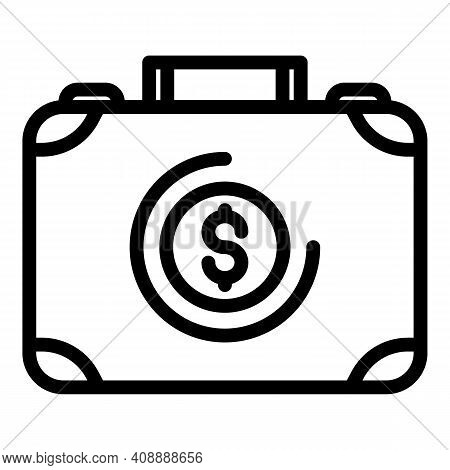Suitcase With Money Icon. Outline Suitcase With Money Vector Icon For Web Design Isolated On White B
