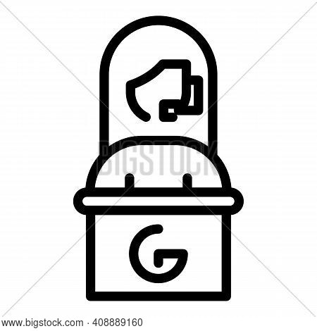 Operator In Airport Icon. Outline Operator In Airport Vector Icon For Web Design Isolated On White B