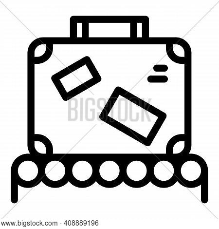 Luggage On Belt Icon. Outline Luggage On Belt Vector Icon For Web Design Isolated On White Backgroun