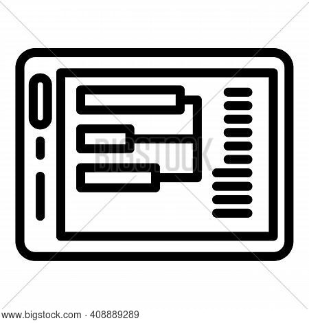 Interaction Tablet Icon. Outline Interaction Tablet Vector Icon For Web Design Isolated On White Bac