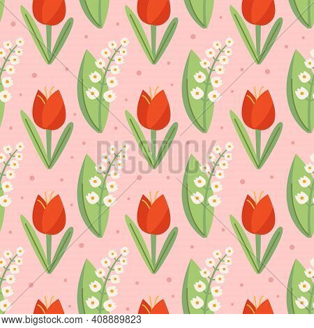 Snowdrop, Tulip, Natural Floral Seamless Pattern, Texture, Background. Packaging Design.
