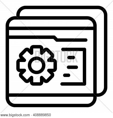 Gear Wheel Folder Interaction Icon. Outline Gear Wheel Folder Interaction Vector Icon For Web Design