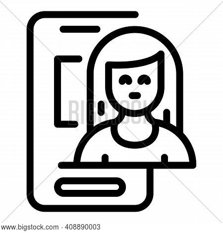 Woman Smartphone Interaction Icon. Outline Woman Smartphone Interaction Vector Icon For Web Design I