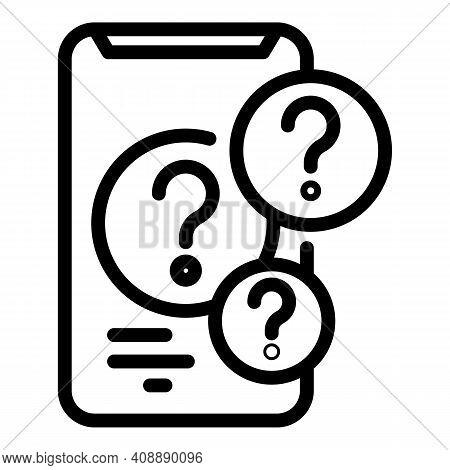 Smartphone Question Interaction Icon. Outline Smartphone Question Interaction Vector Icon For Web De