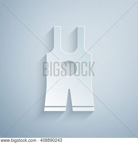 Paper Cut Wrestling Singlet Icon Isolated On Grey Background. Wrestling Tricot. Paper Art Style. Vec