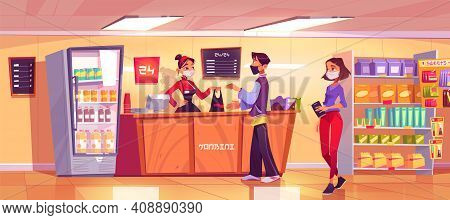 Konbini, Convenience Store With Woman Seller At Counter And People In Queue. Vector Cartoon Interior