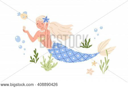 Pretty Mermaid With Long Blonde Hair And Blue Fish Tail Swimming At Sea Bed And Looking In Seashell