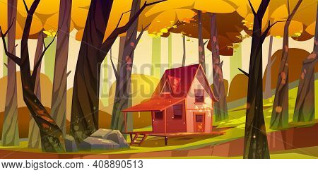 Wooden Stilt House In Autumn Forest. Old Shack With Terrace On Piles In Deep Wood With Falling Sun B
