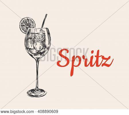 Spritz Hand Drawn Summer Spritz Cocktail Drink Vector Illustration Spritz