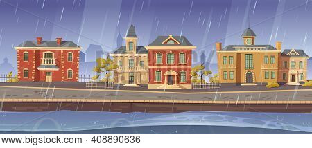 Rain And Wind In Old Town With Retro European Buildings And Lake Promenade. Vector Cartoon Rainy Cit