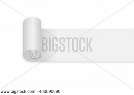 Blank Roll Paper Page On White Background. For Your Design