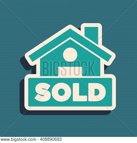 Green Hanging Sign With Text Sold Icon Isolated On Green Background. Sold Sticker. Sold Signboard. L