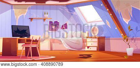Old Dirty Girl Bedroom On Attic. Vector Cartoon Interior Of Mansard With Broken Floor And Furniture,