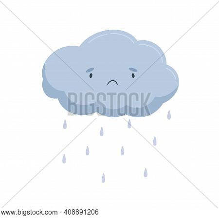 Cute Cloud With Sad Face And Falling Rain Drops. Rainy Weather Icon With Raindrops. Funny Baby Chara